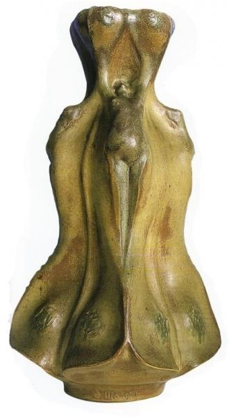 Vase Femme-fleur - Grès blanc émaillé Mougin Paris