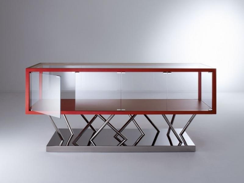 SA02 - Buffet en acier avec verre et portes (200x55x88cm)