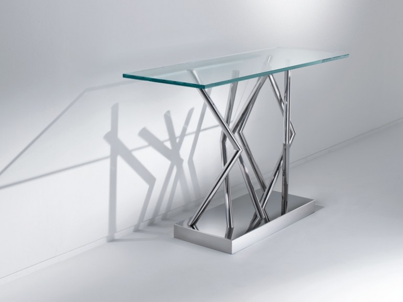 SA06 - Table console rectangulaire en acier et cristal (120x40x74cm)
